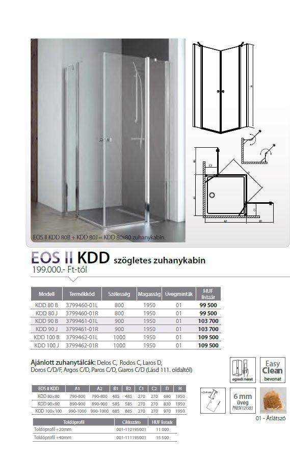 RADAWAY EOS II KDD 90 B szögletes zuhanykabin, dupla lengőajtós kivitel, 900x900x1950 mm, bal / balos / 01 átlátszó üveg / 3799461-01L