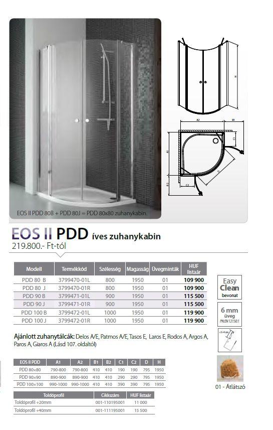 RADAWAY EOS II PDD 80 J íves zuhanykabin, dupla lengőajtós kivitel, 800x800x1950 mm, jobb / jobbos / 01 átlátszó üveg / 3799470-01R