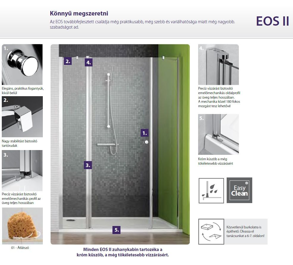 RADAWAY EOS II KDS 100 B szögletes / téglalap alapú / aszimmetrikus zuhanykabin 1000x1970 mm bal / balos / átlátszó üveg / 3799482-01L