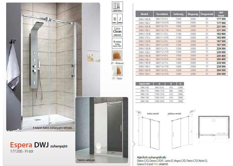 RADAWAY Espera DWJ 140 B tolóajtós zuhanyajtó / AJTÓ 1400x2000 bal / balos / 01 átlátszó üveg / 380114-01L