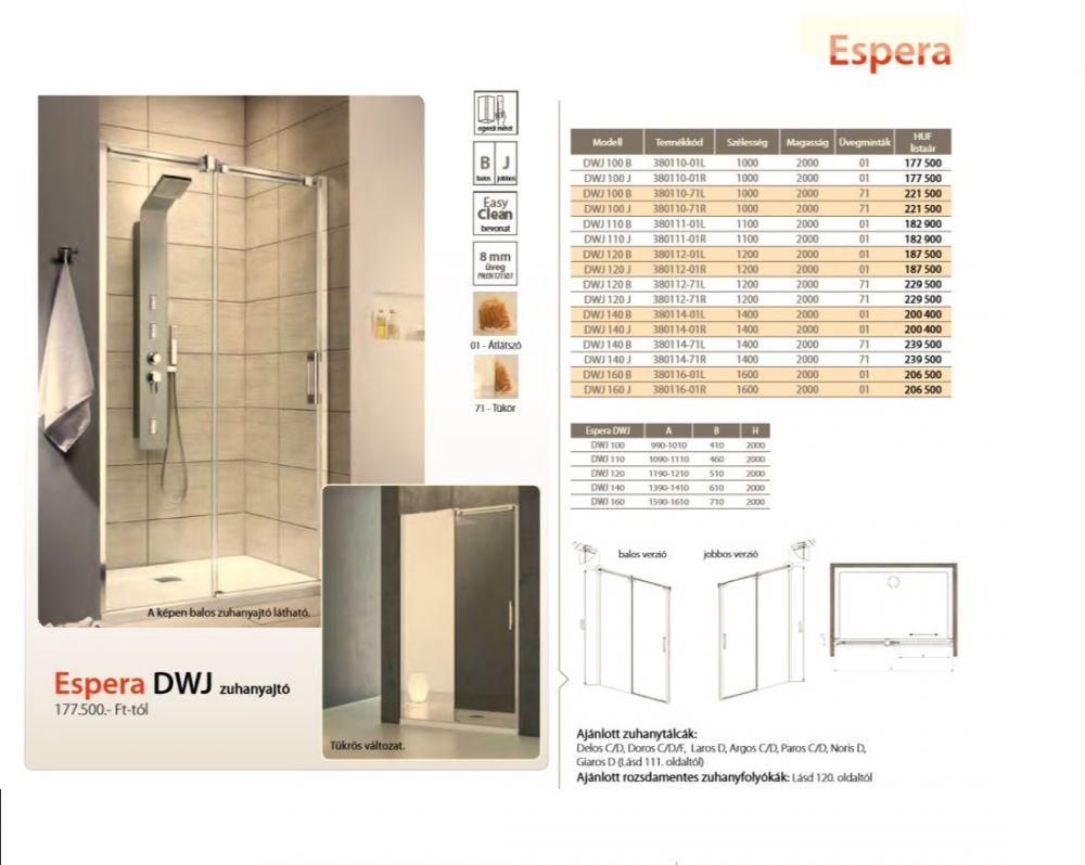 RADAWAY Espera DWJ 140 J tolóajtós zuhanyajtó / AJTÓ / jobb / jobbos / 1400x2000 mm / 01 átlátszó üveg / 380114-01R