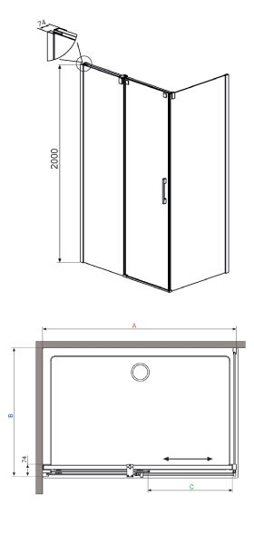 RADAWAY Espera KDJ 120 J szögletes zuhanykabin tolóajtó / AJTÓ 1200x2000 mm jobb / jobbos / 71 tükör üveg / 380132-71R