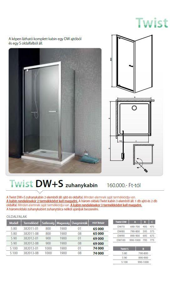 RADAWAY Twist DW 70 nyilóajtó 700x1900 mm / bal, balos / 01 átlátszó üveg / 382000-01