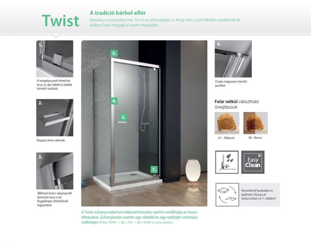 RADAWAY Twist DW+S 90 oldalfal 900x1900 mm / bal, balos / 01 átlátszó üveg / 382012-01