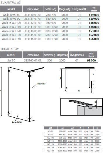 RADAWAY Euphoria Walk-in II / III W3 90 zuhanykabin FAL / ZUHANYFAL 880-890x2000 mm / 01 átlátszó üveg / 383131-01-01