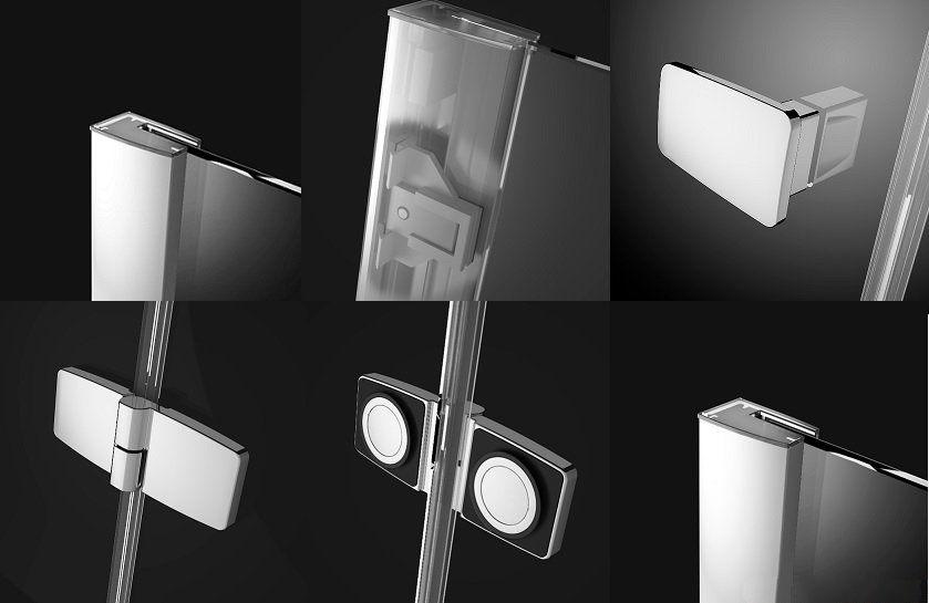 RADAWAY Fuenta New PDD 90B bal / balos, íves zuhanykabin AJTÓ / negyedköríves / 01 átlátszó üveg 384001-01-01L