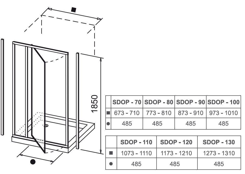RAVAK SUPERNOVA SDOP-90 kifelé nyíló zuhanyajtó fehér kerettel / GRAPE edzett biztonsági üveggel, 90 cm-es / 03V70100ZG