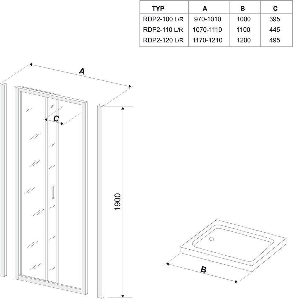RAVAK Rapier NRDP2-110 Toló rendszerű kétrészes, balos zuhanyajtó fehér kerettel / GRAPE edzett biztonsági üveggel  110 cm / 0NND010LZG