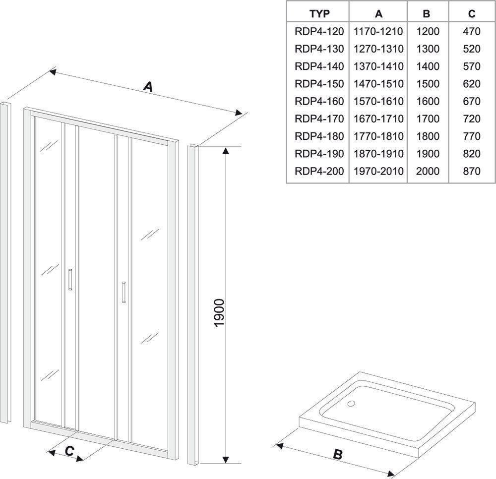 RAVAK Rapier NRDP4-140 Négyrészes, csúsztatható zuhanyajtó szatén kerettel / GRAPE edzett biztonsági üveggel  140 cm / 0ONM0U00ZG