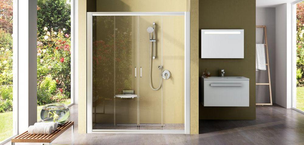 RAVAK Rapier NRDP4-150 Négyrészes, csúsztatható zuhanyajtó szatén kerettel / GRAPE edzett biztonsági üveggel  150 cm / 0ONP0U00ZG