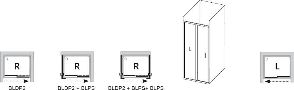 RAVAK Blix zuhanyajtó BLDP2-110 kétrészes, toló rendszerű, fényes alumínium kerettel / TRANSPARENT edzett biztonsági üveggel, 110 cm / 0PVD0C00Z1