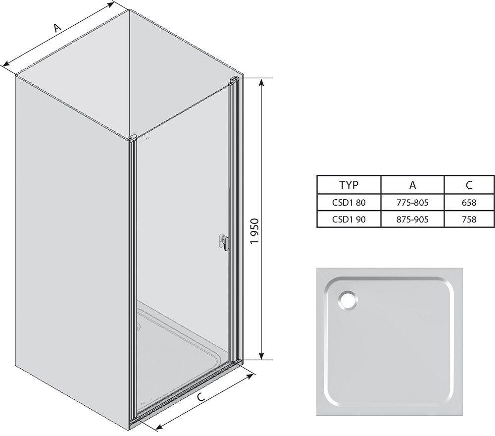 RAVAK Chrome CSD1-80 Egyrészes zuhanyajtó fehér kerettel / TRANSPARENT edzett biztonsági üveggel 80 cm / 0QV40100Z1