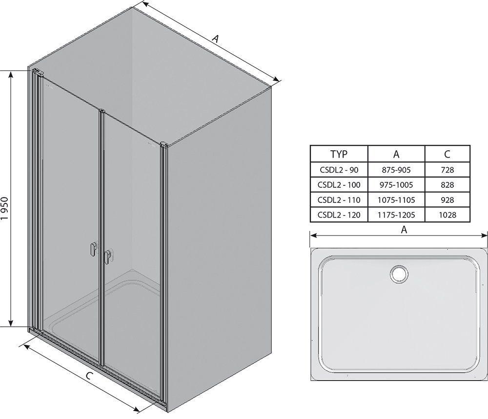 RAVAK Chrome CSDL2-90 Kétrészes zuhanyajtók fényes alumínium kerettel / TRANSPARENT edzett biztonsági üveggel 90 cm / 0QV7CC0LZ1