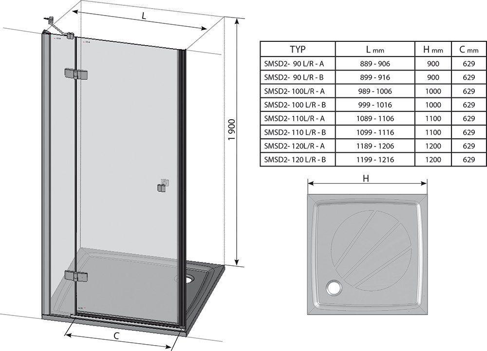 RAVAK SmartLine SMSD2-90 B Kételemes balos zuhanyajtó króm zsanérral / TRANSPARENT edzett biztonsági üveggel 90 cm / 0SL7BA00Z1
