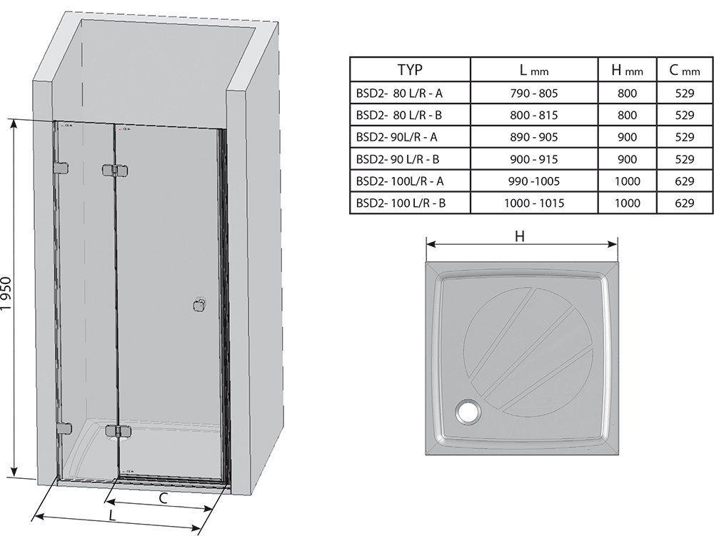 RAVAK Brilliant BSD2-90 A-balos kételemes zuhanyajtó + B SET / króm kerettel / TRANSPARENT edzett biztonsági üveggel / 0UL7AA00Z1 + D01000A084