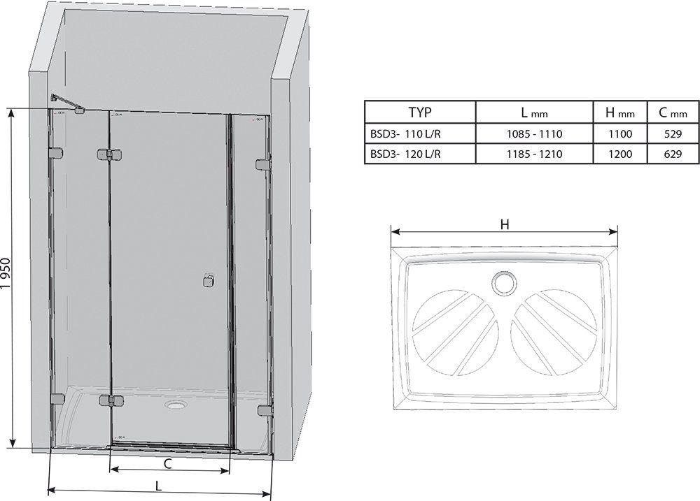 RAVAK Brilliant BSD3-110 Jobbos háromelemes zuhanyajtó + B SET / króm kerettel / TRANSPARENT edzett biztonsági üveggel / 0UPD0A00Z1 + D01000A087