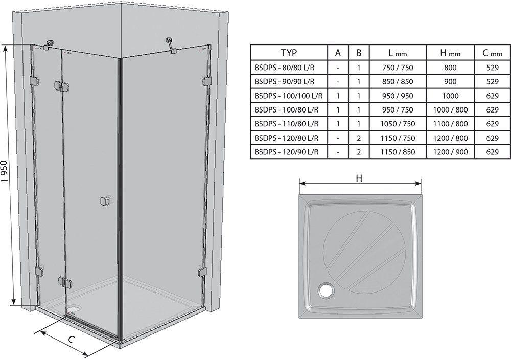 RAVAK Brilliant BSDPS-110x80 Jobbos zuhanykabin fix fallal + B SET / króm kerettel / TRANSPARENT edzett biztonsági üveggel / 0UPD4A00Z1 + D01000A079