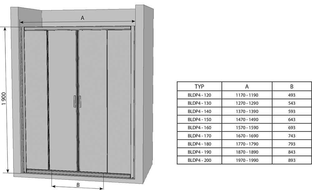 RAVAK Blix zuhanyajtó BLDP4-140 négyrészes, toló rendszerű, szatén kerettel / TRANSPARENT edzett biztonsági üveggel, 140 cm / 0YVM0U00Z1
