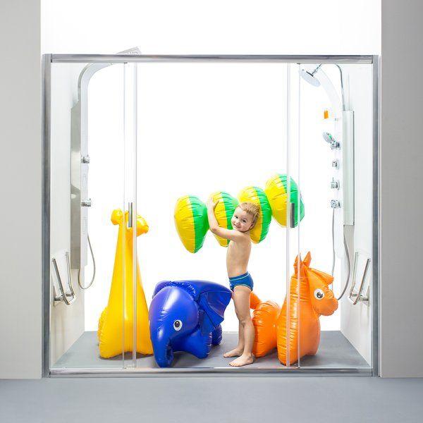 RAVAK Blix zuhanyajtó BLDP4-180 négyrészes, toló rendszerű, fehér kerettel / GRAPE edzett biztonsági üveggel, 180 cm / 0YVY0100ZG