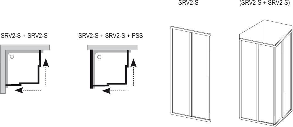 RAVAK SUPERNOVA SRV2-75 S zuhanyajtó, fehér kerettel / PEARL műanyag / plexi betéttel, kételemes tolórendszerű, sarok zuhanykabin kialakításához, 75 cm / 14V3010211