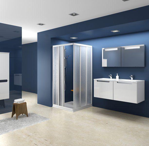 RAVAK SUPERNOVA sarokbelépős zuhanykabin ASRV3-80, fehér kerettel / GRAPE edzett biztonsági üveggel, háromelemes tolórendszerű ajtóval, 80 cm / 15V40102ZG