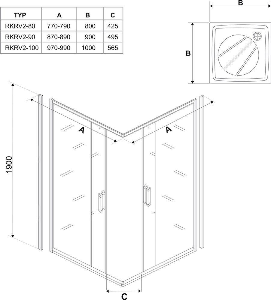 RAVAK Rapier NRKRV2-80 Négyrészes, szögletes, sarokbelépős, toló rendszerű zuhanykabin szatén kerettel / GRAPE edzett biztonsági üveggel  80 cm / 1AN40U00ZG
