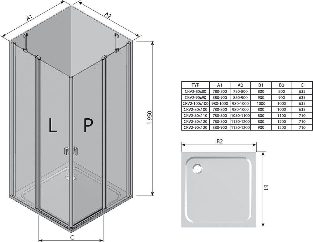 RAVAK Chrome CRV2-90 Szögletes zuhanykabin zuhanyajtó (1db) fényes alumínium kerettel / TRANSPARENT edzett biztonsági üveggel 90 cm / 1QV70C00Z1