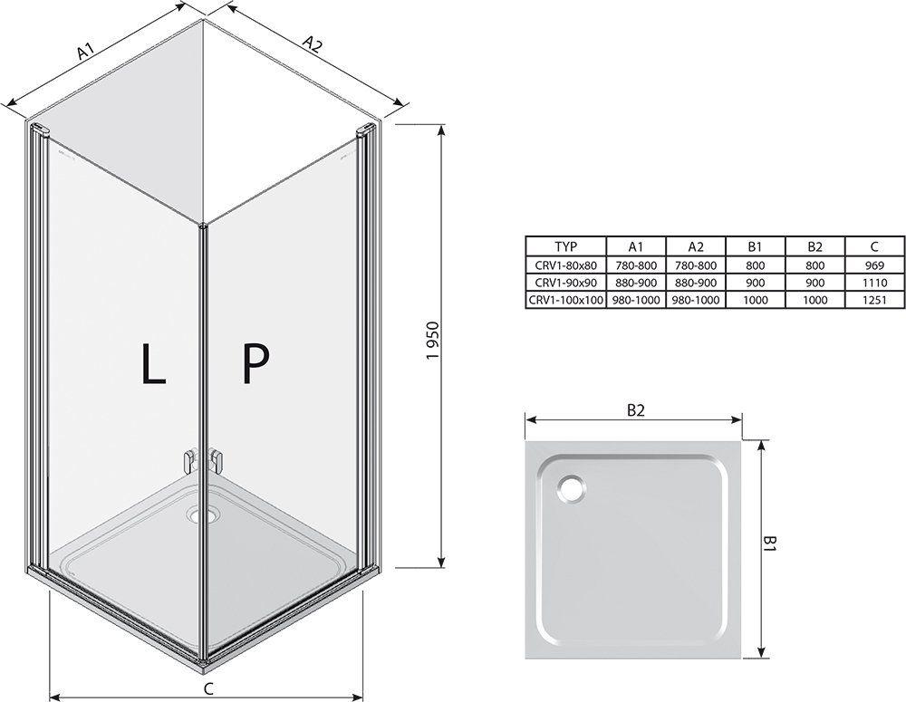 RAVAK Chrome CRV1-90 zuhanyajtó fényes alumínium kerettel / TRANSPARENT edzett biztonsági üveggel 90 cm / 1QV70C01Z1, sarok zuhanykabin kialakításához