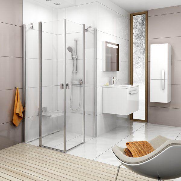 RAVAK Chrome CRV2-100 Szögletes zuhanykabin fehér kerettel / TRANSPARENT edzett biztonsági üveggel 100 cm / 1QVA0100Z1