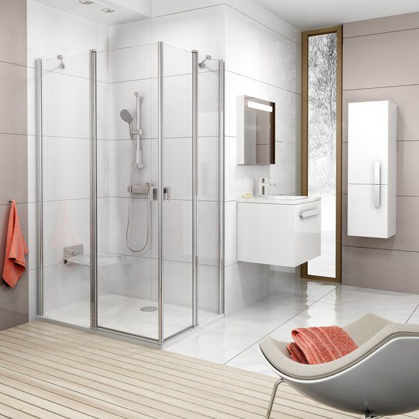 RAVAK Chrome CRV2-100 Szögletes zuhanykabin zuhanyajtó (1db) szatén kerettel / TRANSPARENT edzett biztonsági üveggel 100 cm / 1QVA0U00Z1