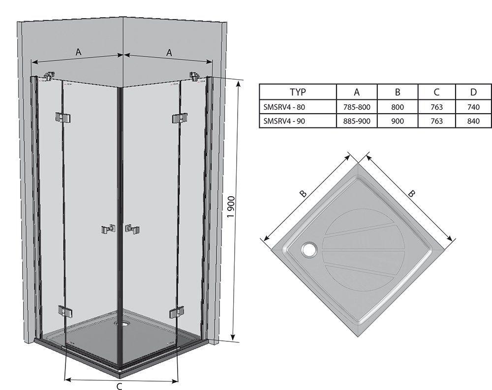 RAVAK SmartLine SMSRV4-90 Négyrészes sarokbelépős zuhanykabin króm zsanérral / TRANSPARENT edzett biztonsági üveggel 90 cm / 1SV77A00Z1
