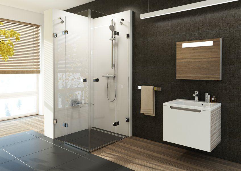 RAVAK Brilliant BSRV4-90 négyrészes zuhanykabin sarokbelépéssel + B SET / króm kerettel / TRANSPARENT edzett biztonsági üveggel / 1UV77A00Z1 + D01000A073