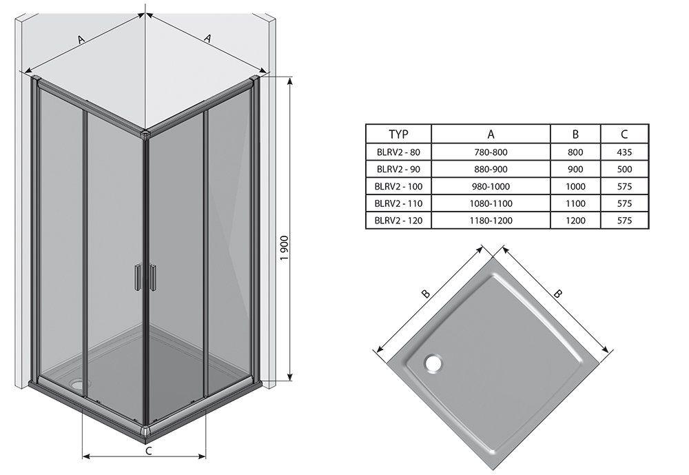 RAVAK Blix BLRV2K-80 Négyrészes toló rendszerű sarokbelépős zuhanykabin fényes alumínium kerettel / TRANSPARENT edzett biztonsági üveggel  80 cm / 1XV40C00Z1