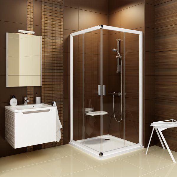 RAVAK Blix BLRV2K-90 Négyrészes toló rendszerű sarokbelépős zuhanykabin fehér kerettel / GRAPE edzett biztonsági üveggel  90 cm / 1XV70100ZG
