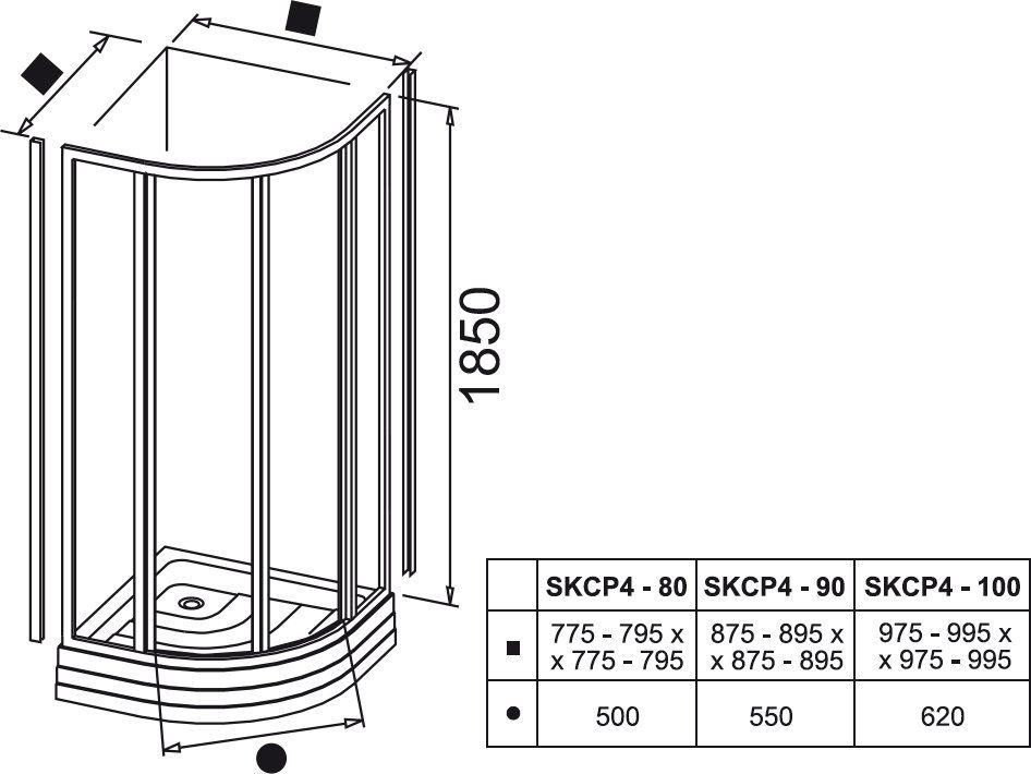 RAVAK SUPERNOVA SKCP4-80 négyelemes, negyedköríves tolórendszerű zuhanykabin fehér kerettel / PEARL műanyag (plexi) betétlemez, 80 cm-es / 3114010011