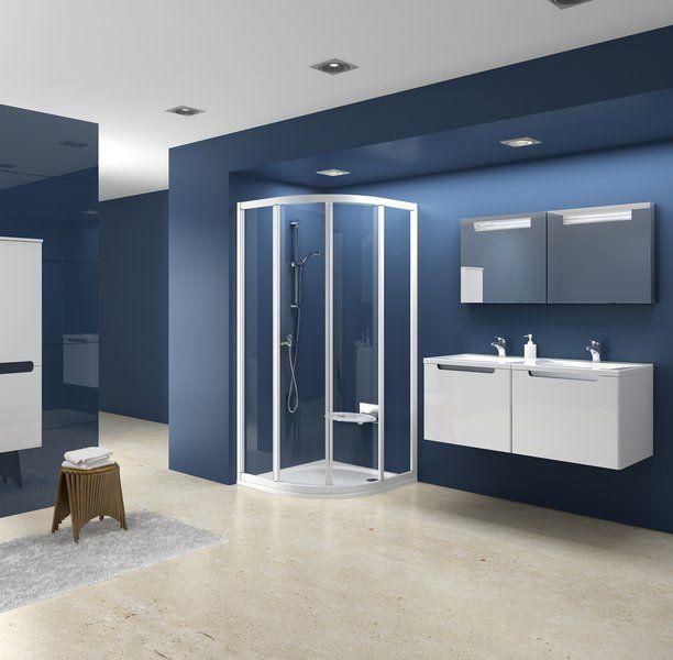 RAVAK SUPERNOVA SKCP4-90 négyelemes, negyedköríves tolórendszerű zuhanykabin fehér kerettel / PEARL műanyag (plexi) betétlemez, 90 cm-es / 3117010011