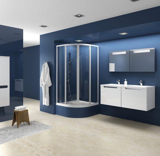 RAVAK SUPERNOVA SKCP4-90 Sabina negyedköríves zuhanykabin minikádakhoz fehér kerettel / PEARL műanyag (plexi) betétlemez, 90 cm-es / 31177V10011