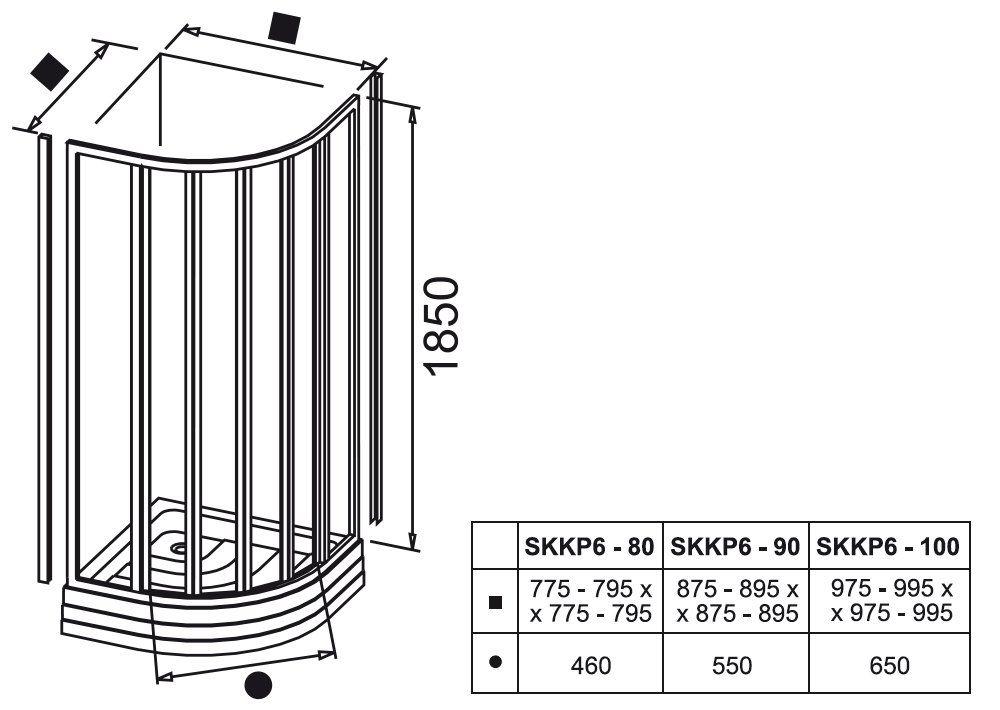 RAVAK SUPERNOVA SKKP6-90 hatelemes, negyedköríves tolórendszerű zuhanykabin fehér kerettel / GRAPE edzett biztonsági üveggel, 90 cm-es / 32070100ZG