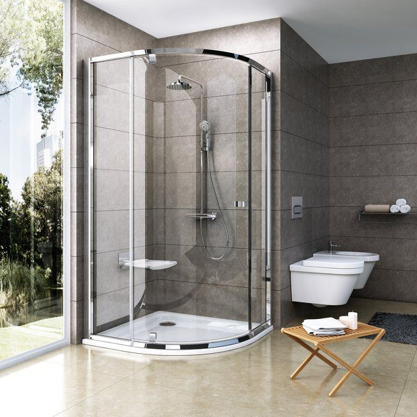 RAVAK Pivot PSKK3-90 háromrészes negyedköríves kifelé nyíló zuhanysarok krómhatású kerettel / TRANSPARENT edzett biztonsági üveggel 90 cm / 37677C00Z1