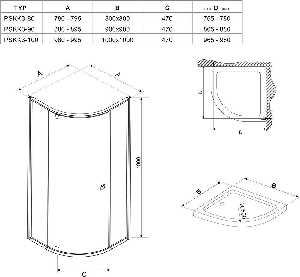 RAVAK Pivot PSKK3-100 háromrészes negyedköríves kifelé nyíló zuhanysarok szatén kerettel / TRANSPARENT edzett biztonsági üveggel 100 cm / 376AAU00Z1