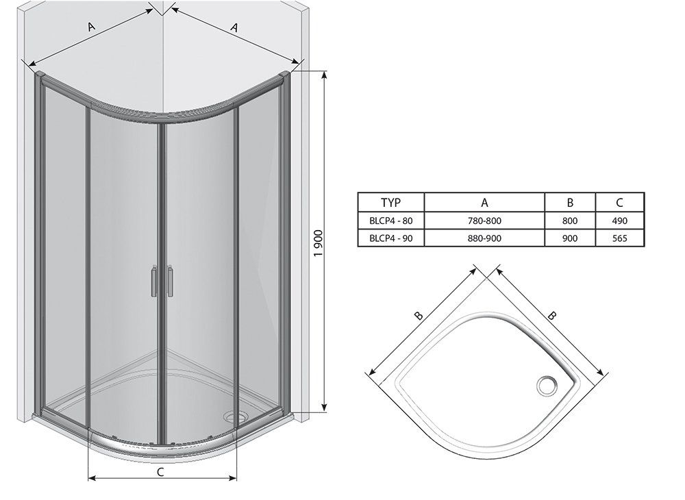 RAVAK Blix BLCP4-90 négyrészes negyedköríves tolóajtós zuhanykabin  fényes alumínium kerettel / GRAPE edzett biztonsági üveggel  90 cm / 3B270C00ZG
