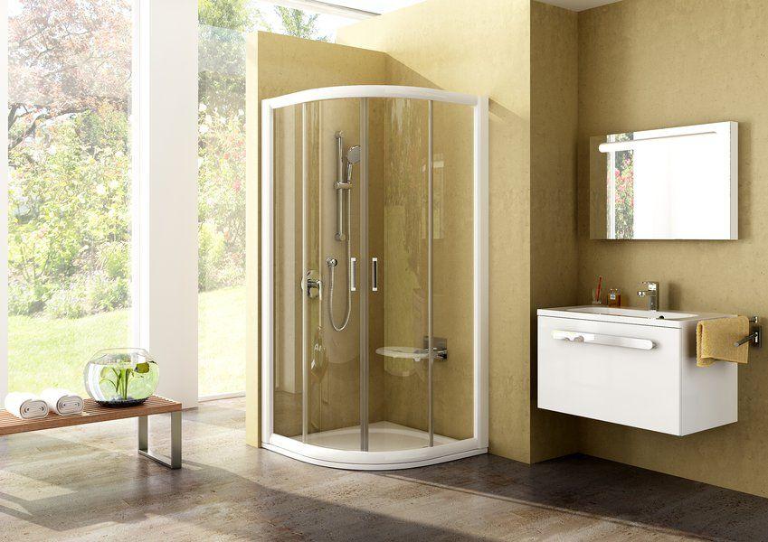 RAVAK Rapier NRKCP4-80 Negyedköríves tolóajtós négyrészes zuhanykabin fehér kerettel / GRAPE edzett biztonsági üveggel 80 cm / 3L340100YG