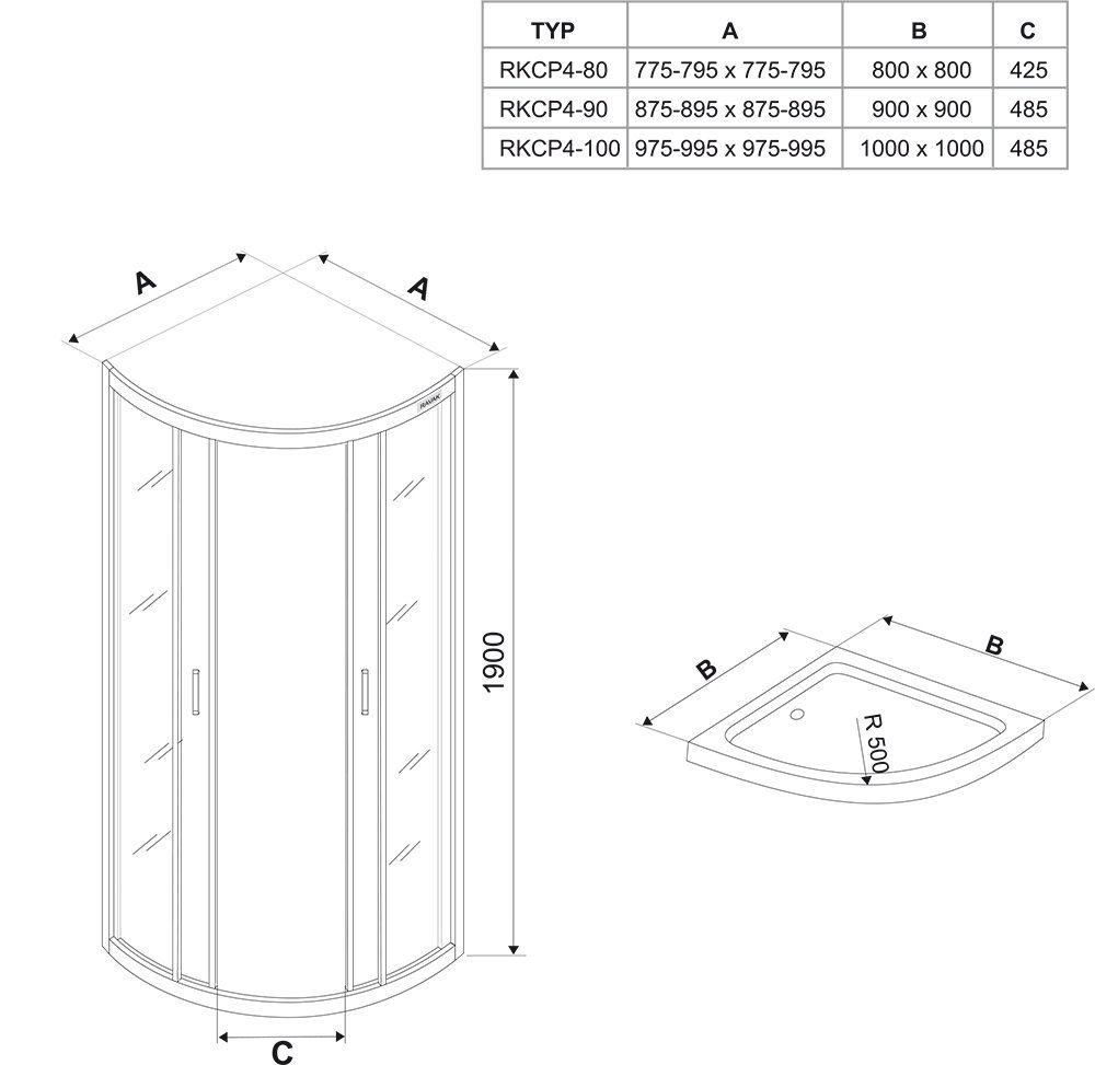 RAVAK Rapier NRKCP4-90 Negyedköríves tolóajtós négyrészes zuhanykabin szatén kerettel / GRAPE edzett biztonsági üveggel 90 cm / 3L370U00YG