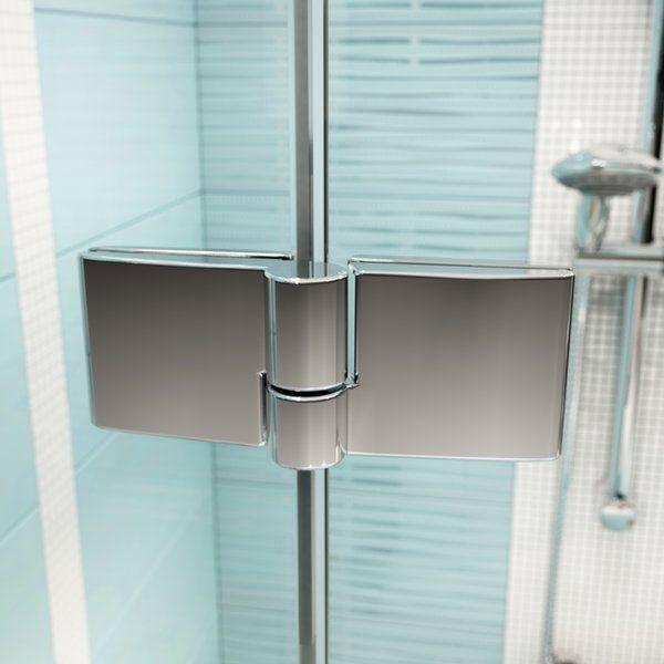 RAVAK SmartLine SMSKK4-90 Negyedköríves / íves négyrészes zuhanykabin króm zsanérral / TRANSPARENT edzett biztonsági üveggel 90 cm / 3S277A00Y1