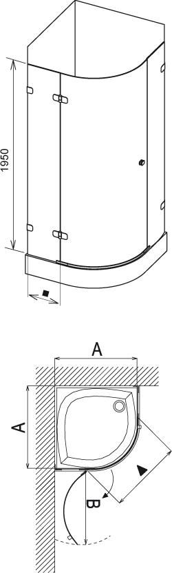 RAVAK BRILLIANT BSKK3-90 jobbos háromrészes, negyedköríves / íves zuhanykabin króm kerettel / TRANSPARENT edzett biztonsági üveggel, 90 cm, cikkszám: 3UP77A00Y1