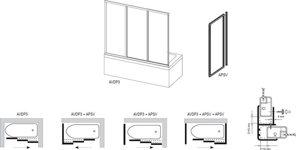 RAVAK SUPERNOVA AVDP3-160 háromrészes tolórendszerű kádparaván, szatén kerettel / RAIN műanyag (plexi) betétlemez, 160 cm-es / 40VS0U0241