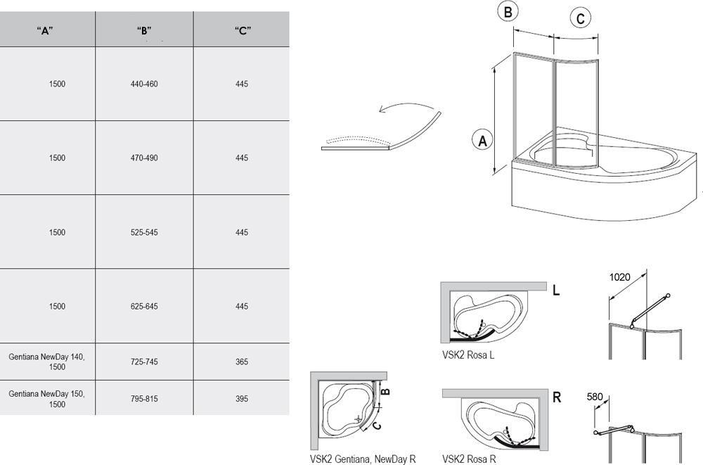 RAVAK VSK2 ROSA 160, Balos, kételemes kádparaván fehér kerettel / RAIN műanyag (plexi) betétlemez, 160 cm / 76L9010041