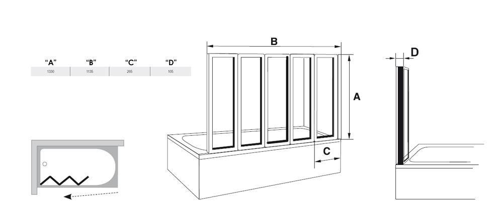 RAVAK VS5 Ötelemes, harmonika rendszerű kádparaván  fehér kerettel / RAIN műanyag (plexi) betétlemez / 794E010041