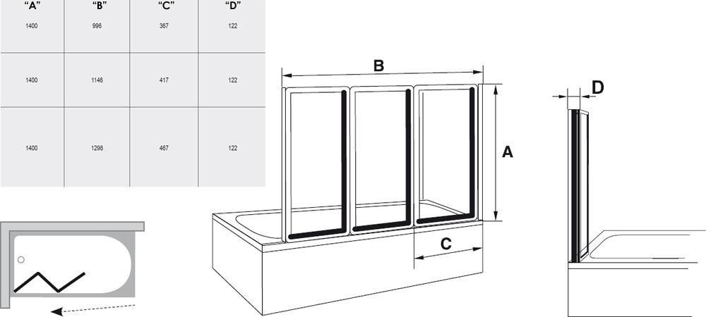 RAVAK VS3 130 Háromelemes, harmonika rendszerű kádparaván fehér kerettel / TRANSPARENT edzett biztonsági üveggel, 130 cm / 795V0100Z1