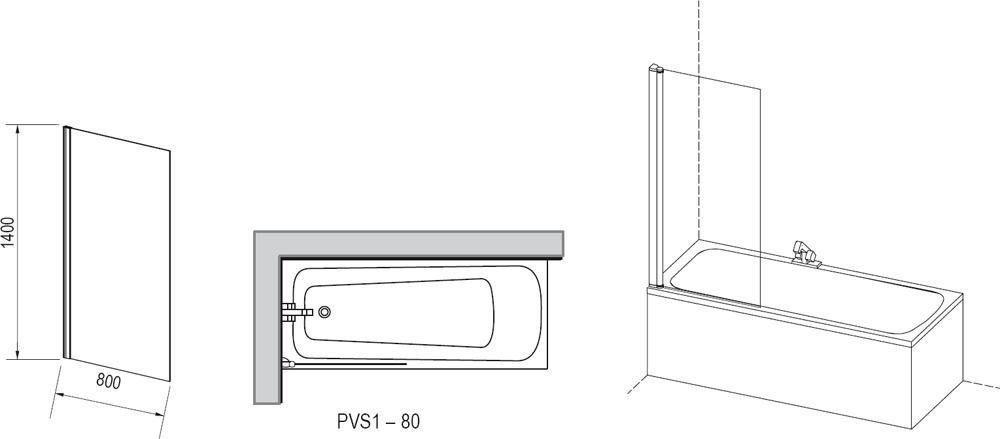 RAVAK PVS1-80 Egyrészes kádparaván fehér kerettel / TRANSPARENT edzett biztonsági üveggel 80 cm / 79840100Z1